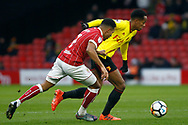 Korey Smith of Bristol City (L) tussles with Andre Carrillo of Watford (R). The Emirates FA Cup, 3rd round match, Watford v Bristol City  at Vicarage Road in Watford, London on Saturday 6th January 2018.<br /> pic by Steffan Bowen, Andrew Orchard sports photography.