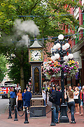 Historic steam clock in the Gastown District, downtown Vancouver, British Columbia, Canada.