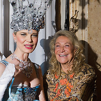 VENICE, ITALY - MARCH 05:  Antonia Sautter (L) and Marta Marzotto  (R) pose at Palazzo Pisani Moretta during the annual Ballo del Doge on March 5, 2011 in Venice, Italy. The Ballo del Doge, created by fashion and costume designer Antonia Sautter, is considered the most elegant and exclusive masquerade ball during the Venice Carnival.