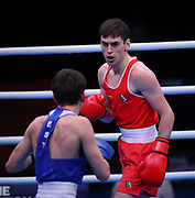 Aidan Walsh of Ireland (red) and Pavel Kamanin of Estonia (bue) competing in the Men's Welterweight preliminaries during The Road to Tokyo European Olympic Boxing Qualification, Sunday, March 15, 2020, in London, United Kingdom. (Mitchell Gunn-ESPA-Images/Image of Sport)