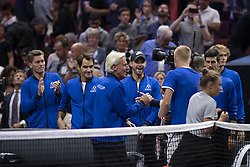 September 21, 2018 - Chicago, Illinois, U.S - KYLE EDMUND of Great Britain gets congratulated by his teammates from Team Europe after winning the second singles match on Day One of the Laver Cup at the United Center in Chicago, Illinois. (Credit Image: © Shelley Lipton/ZUMA Wire)