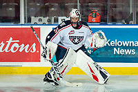 KELOWNA, BC - OCTOBER 2:  Beck Warm #35 of the Tri-City Americans warms up on the ice against the Kelowna Rockets at Prospera Place on October 2, 2019 in Kelowna, Canada. (Photo by Marissa Baecker/Shoot the Breeze)