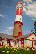 Red and white Swakopmund lighthouse with the restaurant attached, Walvis Bay, Swakopmund, Namibia