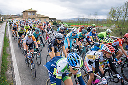 Dani King well positioned toward the front of the lead group - 2016 Strade Bianche - Elite Women, a 121km road race from Siena to Piazza del Campo on March 5, 2016 in Tuscany, Italy.