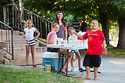 Children sell lemonade on a hot summer day in Boulder, Colorado.