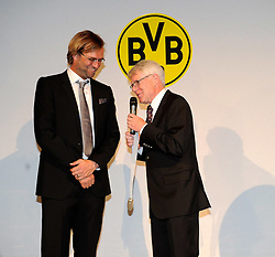 14.05.2011, U-Haus, Dortmund, GER, 1.FBL, Borussia Dortmund Meisterbankett im Bild Präsident Dr. Reinhard RAUBALL, rechts überreicht Trainer Jürgen Klopp die Meister-Medaille. //   German 1.Liga Football ,  Borussia Dortmund Championscelebration, Dortmund, 14/05/2011 . EXPA Pictures © 2011, PhotoCredit: EXPA/ nph/  Conny Kurth       ****** out of GER / SWE / CRO  / BEL ******