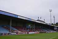 A general view inside of the Sands Venue Stadium and socially distanced Doncaster players during the Pre-Season Friendly match between Scunthorpe United and Doncaster Rovers at Glanford Park, Scunthorpe, England on 15 August 2020.