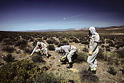 "Defense Department specialists in radiation suits on the Nuclear Test Site in the Nevada desert outside Las Vegas hold Geiger counters during a simulated nuclear weapons accident test. In the ""Broken Arrow"" (any accident involving a nuclear weapon) exercise, the Defense Department and the Department of Energy simulated the crash of a helicopter carrying nuclear weapons. Various agencies and departments then practiced coordinating their responses in an effort to find and clean up the mess. Real radioactive material was spread around the desert and a large number of soldiers simulated the angry residents of a nearby town..1981"