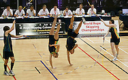 Loughborough, England - Saturday 31 July 2010: Jake Eve, Aimee Devlin, Luke Boon and Kirstin Morris of Australia during the World Rope Skipping Championships held at Loughborough University, England. The championships run over 7 days and comprise junior categories for 12-14 year olds in the World Youth Tournament, 15-17 year olds male and female championships, and any age open championships. In the team competitions, 6 events are judged, the Single Rope Speed, Double Dutch Speed Relay, Single Rope Pair Freestyle, Single Rope Team Freestyle, Double Dutch Single Freestyle and Double Dutch Pair Freestyle. For more information check www.rs2010.org. Picture by Andrew Tobin/Picture It Now.