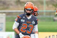 KELOWNA, BC - SEPTEMBER 22:  Kale Bergland #23 of Okanagan Sun warms up against the Valley Huskers at the Apple Bowl on September 22, 2019 in Kelowna, Canada. (Photo by Marissa Baecker/Shoot the Breeze)