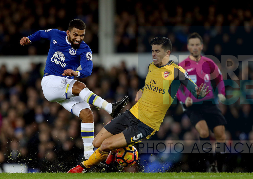 Aaron Lennon of Everton has a shot blocked Gabriel Paulista of Arsenal during the English Premier League match at Goodison Park Stadium, Liverpool. Picture date: December 13th, 2016. Pic Simon Bellis/Sportimage