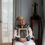 "Mexico City, Mexico, August 10, 2018. Elena Poniatowska, Mexican writer portrayed in her house in Coyoacán. The author of, among the other books: ""Tinissima"", a novel based on the life of the photographer Tina Modotti.<br />