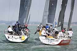 Brewin Dolphin Scottish Series 2014, the start of an International IRC competition racing on the Solent off Cowes and hosted by the RORC.<br /> <br /> Rod Stuart on Aurora and Ino of GBR White, both Corby designed.<br /> Credit: Marc Turner
