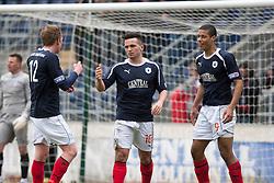 Falkirk's Sean Higgins celebrates after scoring their fourth goal..Falkirk 4 v 1 Morton, 4/5/2013..© Michael Schofield..