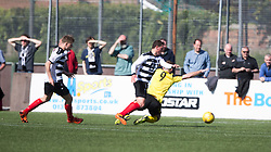 East Stirling's Reece Donaldson (3) brings down Edinburgh City's Ross Allum for their penalty. Edinburgh City became the first club to be promoted to Scottish League Two. East Stirling 0 v 1 Edinburgh City, League play-off game.