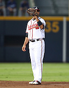 ATLANTA, GA - SEPTEMBER 02:  Shortstop Alex Gonzalez #2 of the Atlanta Braves flashes a signal about who will cover second base on a steal attempt during the game against the Los Angeles Dodgers at Turner Field on September 2, 2011 in Atlanta, Georgia.  (Photo by Mike Zarrilli/Getty Images)
