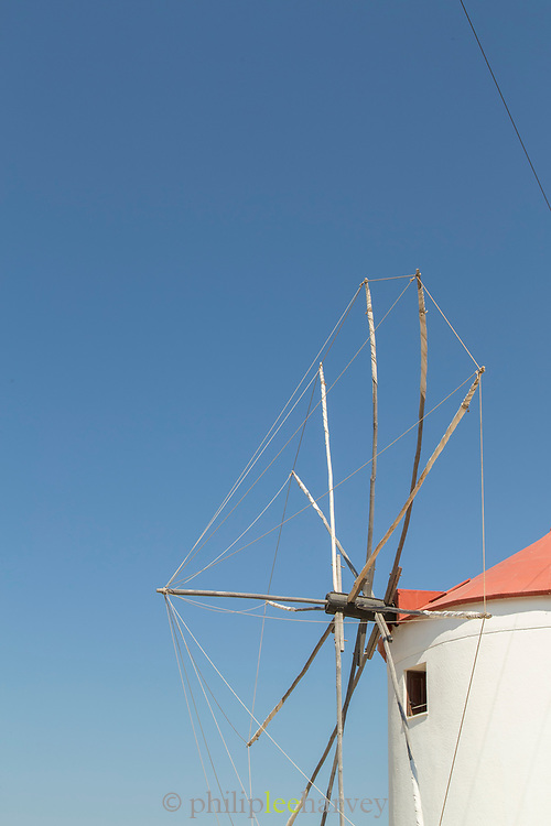 Detail of old windmill converted into house, Sigri, Lesbos, Greece