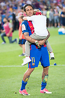 FC Barcelona's forward Neymar Santos Jr with his daughter after Copa del Rey (King's Cup) Final between Deportivo Alaves and FC Barcelona at Vicente Calderon Stadium in Madrid, May 27, 2017. Spain.<br /> (ALTERPHOTOS/BorjaB.Hojas)