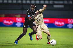 Jordan Teze of PSV Eindhoven and Nino Kouter of Mura during football match between NS Mura and PSV Eindhoven in Third Round of UEFA Europa League Qualifications, on September 24, 2020 in Stadium Fazanerija, Murska Sobota, Slovenia. Photo by Blaz Weindorfer / Sportida