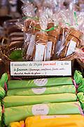 Nonnettes de Dijon pain d'epices spiced bread at cafe La Rose de Vergy in Rue de la Chouette in Dijon in the Burgundy region of France