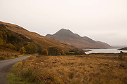 The road to Achiltibuie on the 5th November 2018 in Achiltibuie, Scotland in the United Kingdom. Achiltibuie is a village in Ross and Cromarty on the Coigach coast of northwestern Scotland.