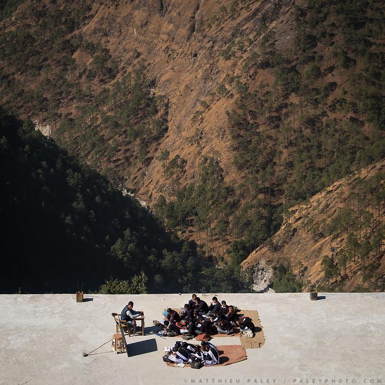 School in the outdoor. In the Himalaya.