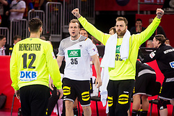 Andreas Wolff of Germany and Julius Kuhn of Germany during handball match between National teams of Germany and Macedonia on Day 5 in Preliminary Round of Men's EHF EURO 2018, on January 17, 2018 in Arena Zagreb, Zagreba, Croatia. Photo by Ziga Zupan / SportidaAndreas Wolff of Germany and Julius Kuhn of Germany during during handball match between National teams of Germany and Macedonia on Day 5 in Preliminary Round of Men's EHF EURO 2018, on January 17, 2018 in Arena Zagreb, Zagreb, Croatia. Photo by Ziga Zupan / Sportida