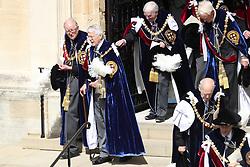 Former Prime Minister Sir John Major after the annual Order of the Garter Service at St George's Chapel, Windsor Castle.