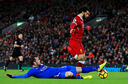 Christian Fuchs of Leicester City tackles Mohamed Salah of Liverpool - Mandatory by-line: Matt McNulty/JMP - 30/12/2017 - FOOTBALL - Anfield - Liverpool, England - Liverpool v Leicester City - Premier League