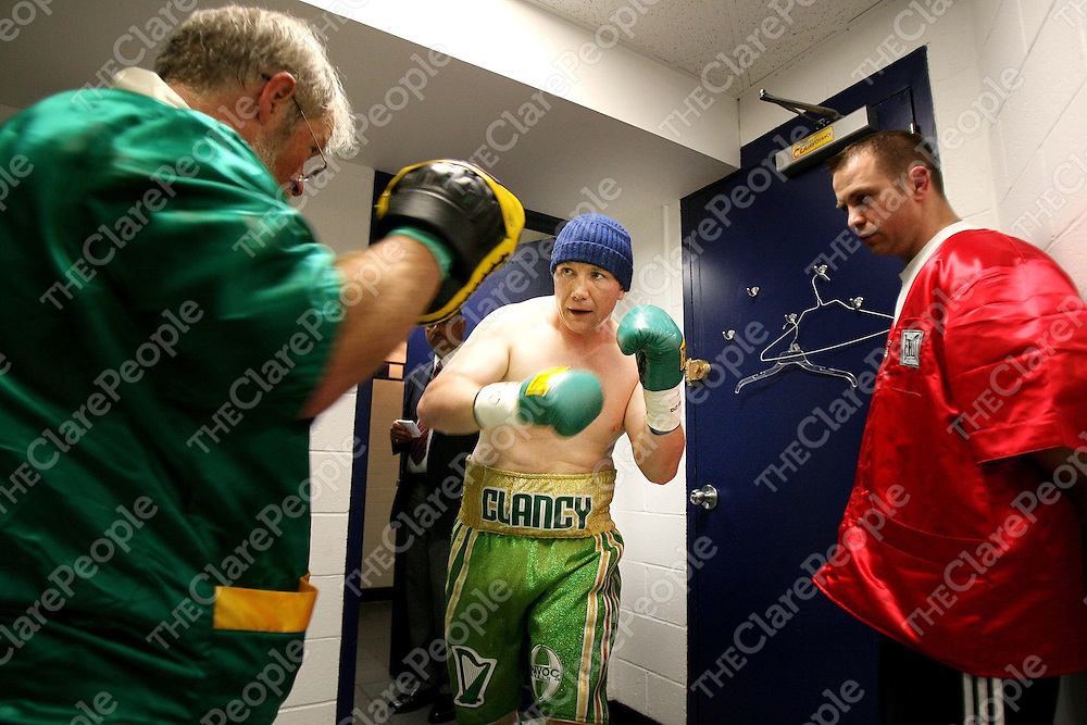 """James Clancy ,KIlfenora with trainer John Curran and John Clancy before the Irish Ropes """"Erin Go Brawl """" at Madison Square Garden, New York on Friday night.<br /> Photograph by Eamon Ward"""