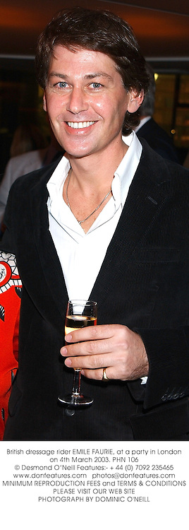 Leading British dressage rider EMILE FAURIE, at a party in London on 4th March 2003.PHN 106