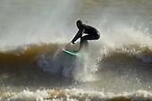 Surfing on Lake Michigan near Sheboygan, Wisconsin.