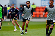 Wimbledon defender Will Nightingale (5) warming up  during the EFL Sky Bet League 1 match between Blackpool and AFC Wimbledon at Bloomfield Road, Blackpool, England on 20 October 2018.