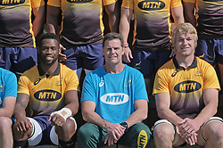 JOHANNESBURG, SOUTH AFRICA MAY 28: Center, Springbok coach Rassie Erasmus flanked by Sprinbok captains Siya Kolisi (left) and Pieter-Steph du Toit (right) during training on 28 May 2018 in Johannesburg South Africa. Both Pieter-Steph du Toit and Siya Kolisi were announced by Springboks coach Rassie Erasmus as captains ahead of upcoming international games against Wales and England, the Springbok captaincy is a first for both players. They attended a training session with the Springbok rugby squad and coaching staff at St Stithians School. (Photo by Dino Lloyd)
