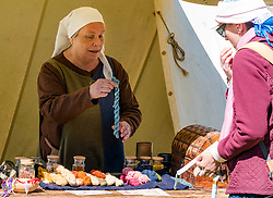 Medieval Day. Dirleton Castle, East Lothian, Scotland, United Kingdom, 11 May 2019. Pictured:  Historic Environment Scotland family fun day at the Living Medieval Village by Saltire History Society in the castle gardens.<br /> <br /> Sally Anderson   EdinburghElitemedia.co.uk