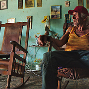 Elderly man in his house life in Havana. He used to live with brother, until he passed away.