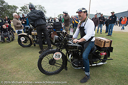 Paul D'Orleans tries out the Sunbeam during Stage 8 of the Motorcycle Cannonball Cross-Country Endurance Run, which on this day ran from Junction City, KS to Burlington, CO., USA. Saturday, September 13, 2014.  Photography ©2014 Michael Lichter.