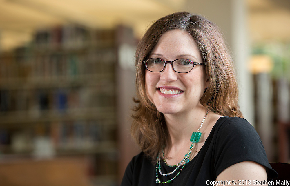 """Dr. Elesha Coffman, Assistant Professor of Church History and author of """"The Christian Century and the Rise of the Protestant Mainline"""" at Charles C. Myers Library on the campus of the University of Dubuque Theological Seminary in Dubuque, Iowa on Wednesday, June 12, 2013."""
