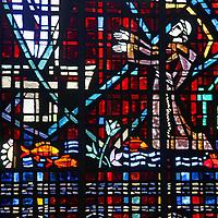 Africa, Morocco, Casablanca. Notre Dame de Lourdes stained glass windows.