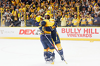 NASHVILLE, TN - MAY 22:  The Nashville Predators celebrate after defeating the Anaheim Ducks 6 to 3 in Game Six of the Western Conference Final during the 2017 Stanley Cup Playoffs at Bridgestone Arena on May 22, 2017 in Nashville, Tennessee.  (Photo by Frederick Breedon/Getty Images)