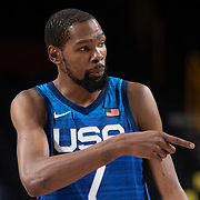 TOKYO, JAPAN - JULY 25:    Kevin Durant #7 of the United States during the USA V France basketball preliminary round match at the Saitama Super Arena at the Tokyo 2020 Summer Olympic Games on July 25, 2021 in Tokyo, Japan. (Photo by Tim Clayton/Corbis via Getty Images)