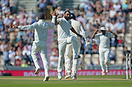 Mohammed Shami of India celebrates the wicket of Stuart Broad during the fourth day of the 4th SpecSavers International Test Match 2018 match between England and India at the Ageas Bowl, Southampton, United Kingdom on 2 September 2018.