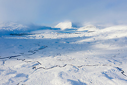 Aerial view of Rannoch Moor covered in snow during winter, Highlands,Scotland, UK