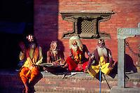 Sadhus (wondering hermits), Durbar Square, Kathmandu, Nepal