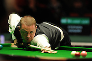 Stephen Hendry of Scotland in action during his match against Neil Robertson of Australia. Welsh open snooker, day 2 action at the Newport centre, Newport, South Wales on Tuesday 14th Feb 2012.  pic by Andrew Orchard, Andrew Orchard sports photography,