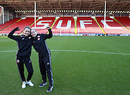 Sheffield United Ladies captain Rachel Ruddoch (Right) and Rosa Neary pose for a photo on the pitch before kick off during the FA Women's Cup First Round match at Bramall Lane Stadium, Sheffield. Picture date: December 4th, 2016. Pic Clint Hughes/Sportimage