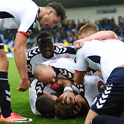 TELFORD COPYRIGHT MIKE SHERIDAN 13/10/2018 - AFC Telford celebrate after equalising in the final minute during the Vanarama National League North fixture between AFC Telford United and Chorley