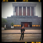 08 APRIL 2012 - HANOI, VIETNAM:    A Vietnamese policeman on duty in front Ho Chi Minh's Mausoleum in Hanoi. The Ho Chi Minh Mausoleum, in Vietnamese: Lng Ch tch H Chí Minh, is a large memorial in Hanoi, Vietnam dedicated to Ho Chi Minh, the late leader of North Vietnam. It is located in the centre of Ba Dinh Square, which is the place where Ho read the Declaration of Independence on September 2, 1945, establishing the Democratic Republic of Vietnam. The mausoleum is 21.6 metres high and 41.2 metres wide.     PHOTO BY JACK KURTZ