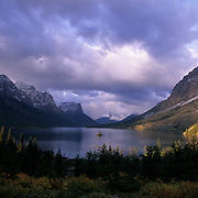 Wild Goose Island and St. Mary's Lake in early morning light in  Glacier National Park, Montana.
