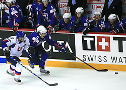 Anze Kopitar of Slovenia vs his teammate Lubomir Visnovsky (17) of Slovakia at ice-hockey game Slovenia vs Slovakia at second game in  Relegation  Round (group G) of IIHF WC 2008 in Halifax, on May 10, 2008 in Metro Center, Halifax, Nova Scotia, Canada. Slovakia won after penalty shots 4:3.  (Photo by Vid Ponikvar / Sportal Images)